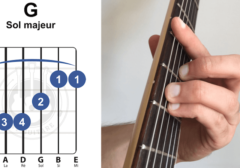 accord barré sol g majeur guitare